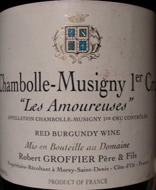 """Chambolle-Musigny 1er Cru """"Les Amoureuses"""" 2002 GROFFIER Rouge"""