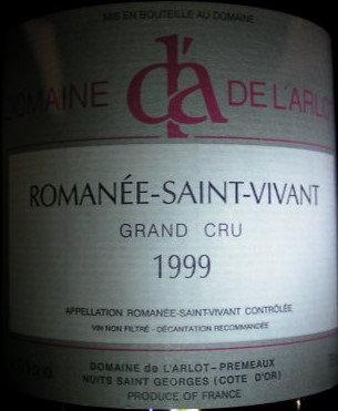 Romanée-Saint-Vivant Grand Cru 1999 Dne de l'Arlot Rouge