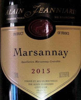 Marsannay 2015 Alain JEANNIARD Rouge