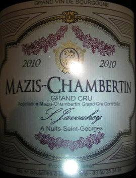 Mazis-Chambertin Grand Cru 2010 S.JAVOUHEY Rouge