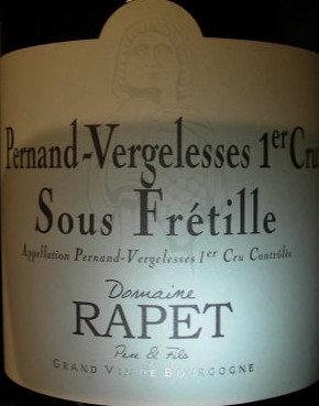 "Pernand-Vergelesses 1er Cru ""Sous Frétille"" 2014 RAPET Blanc"
