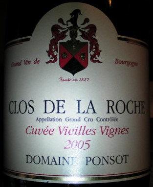 "Clos de la Roche Grand Cru ""Vieilles Vignes"" 2005 PONSOT Rouge"