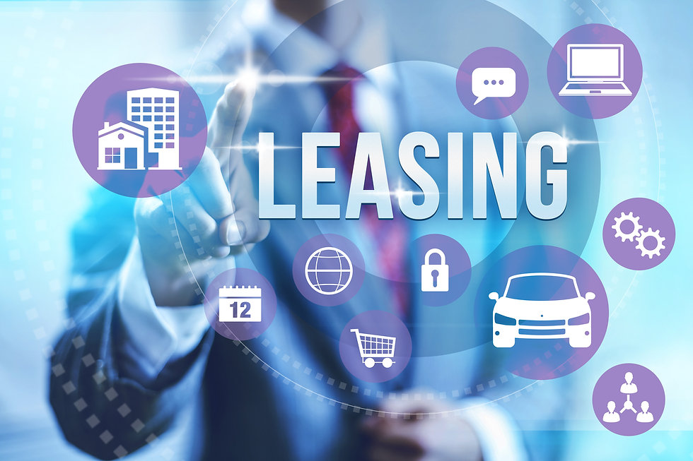 Leasing concept illustration with multip