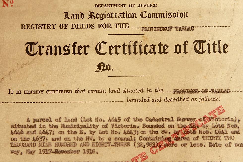 Photo of 1961 transfer certificate of ti