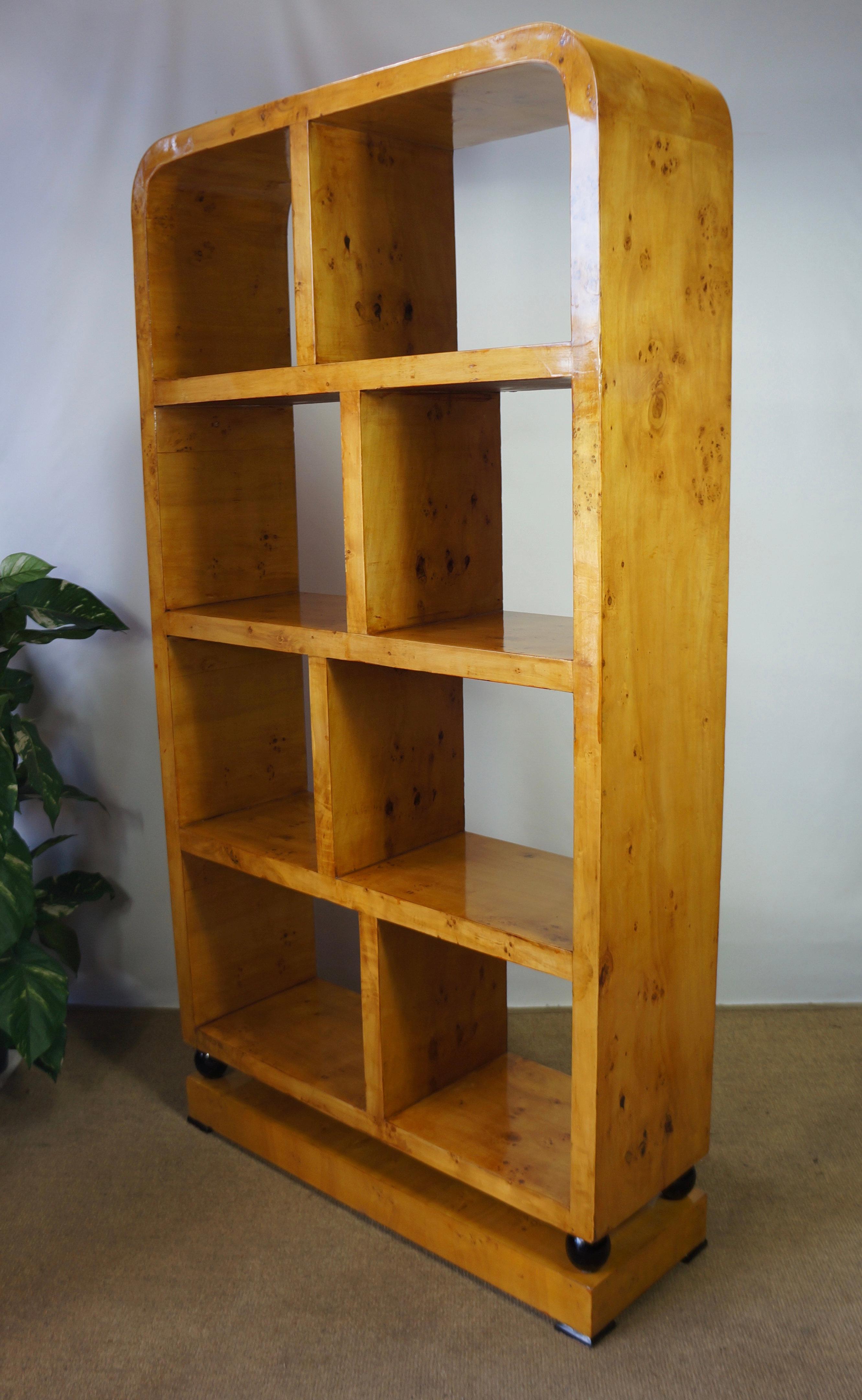 Blonde Burr Maple Art Deco Bookcase Display Shelves