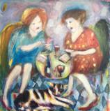 Card Players Acrylic and oil on canvas 100x100cm