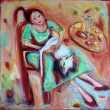 Me Time Acrylic and oil on canvas 60x60cm