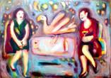 Bird Table Acrylic and oil on board  84x59 cm