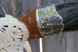Carved Longhorn with Silver