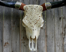 Carved Longhorn with Silver Cuffs