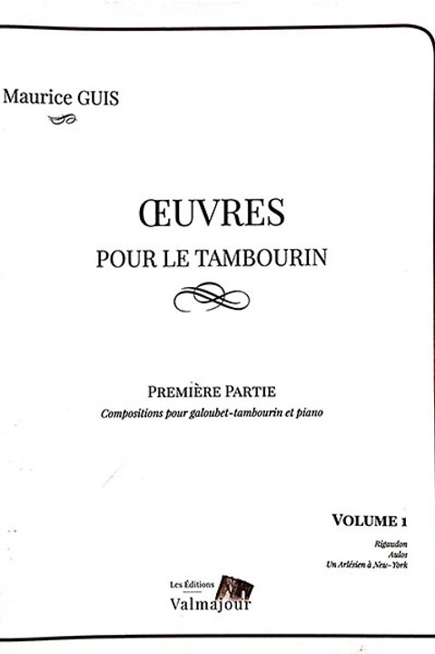 Maurice Guis -Œuvres pour le tambourin
