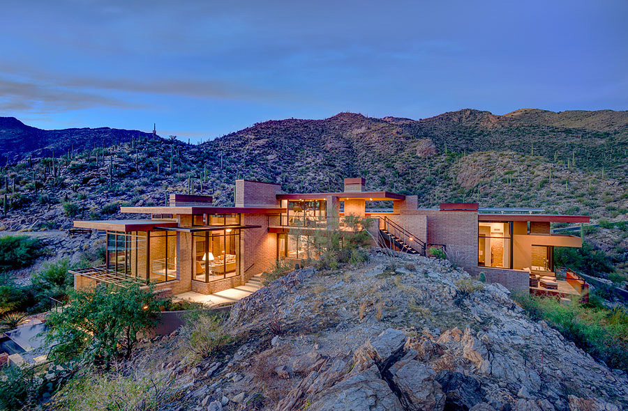 Luxury home illuminated in the hills