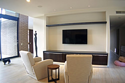 Living room with wall mounted TV