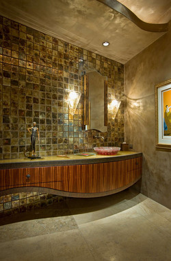 Modern designer bathroom with tiles