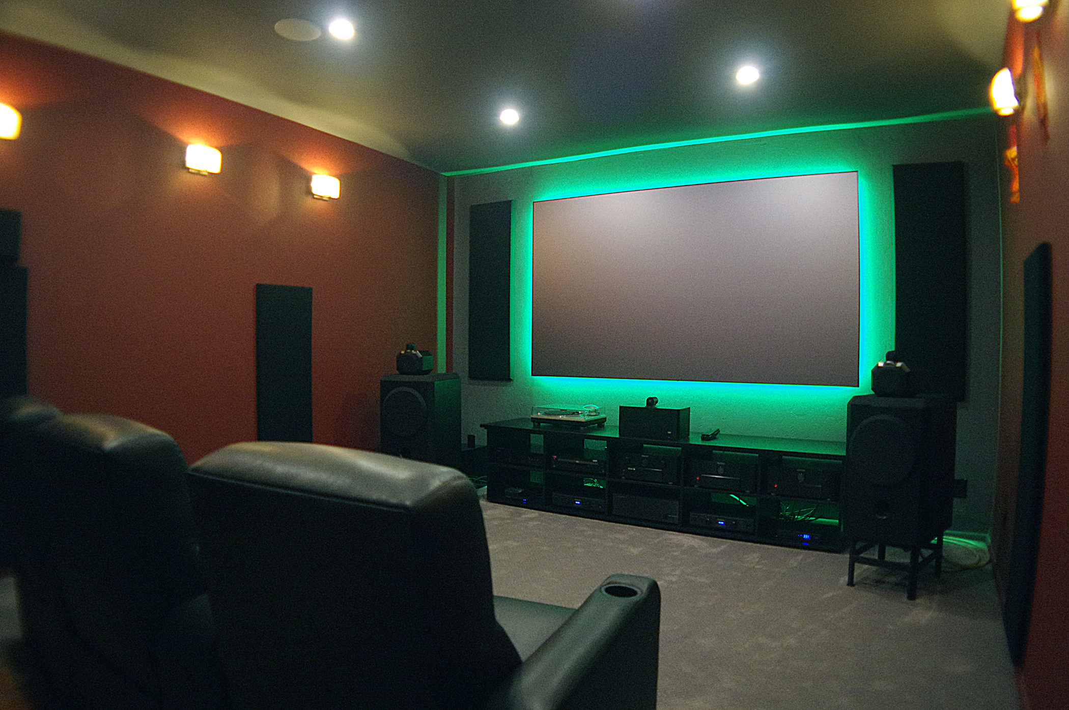 Home theater screen backlit green