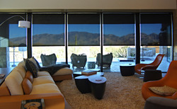 Designer living room w/ shades drawn