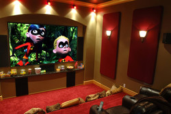 Red custom home theater