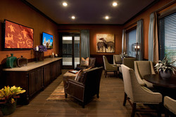 Luxurious lobby with hanging TVs