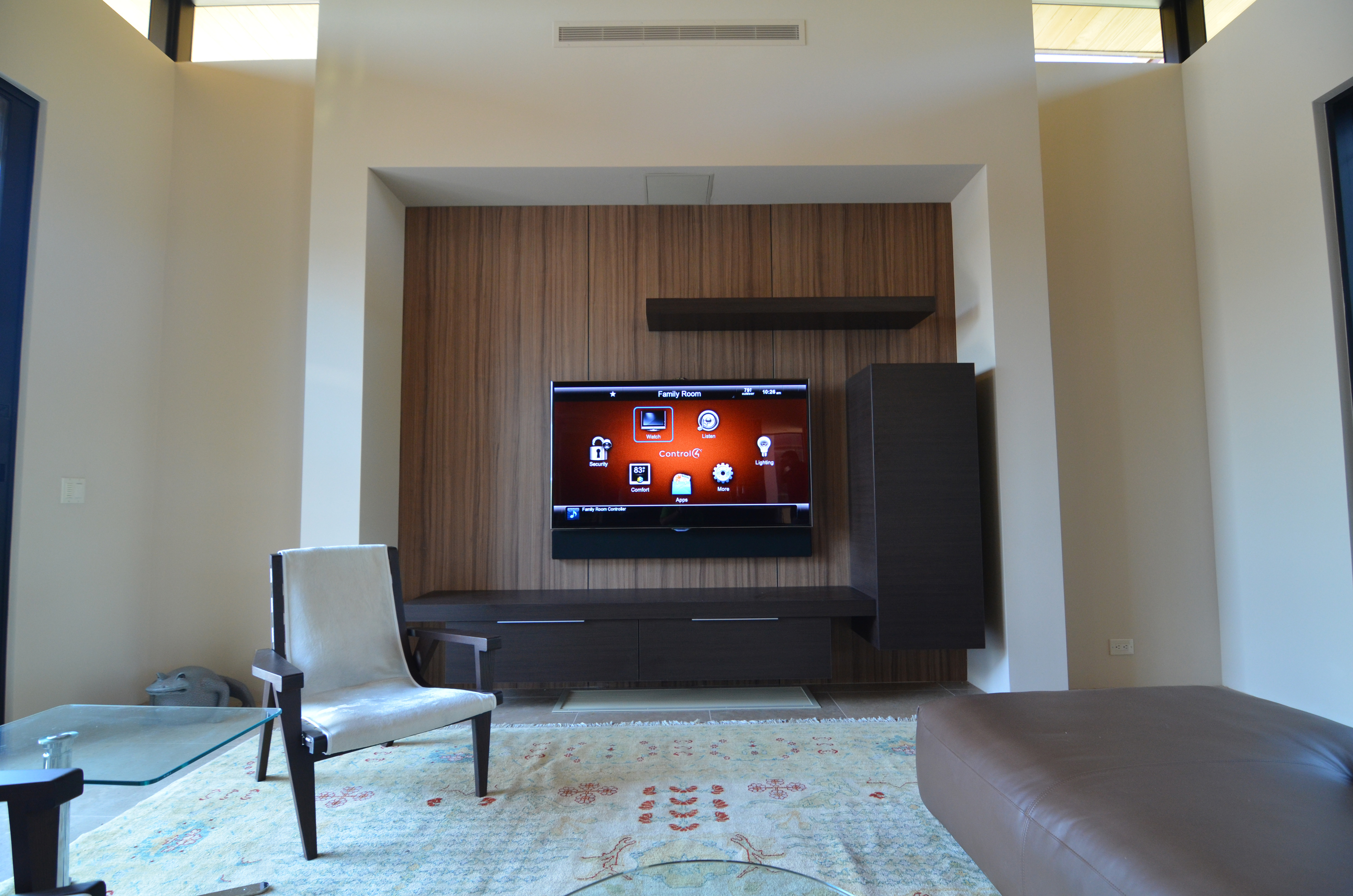 Hanging TV displaying Control4
