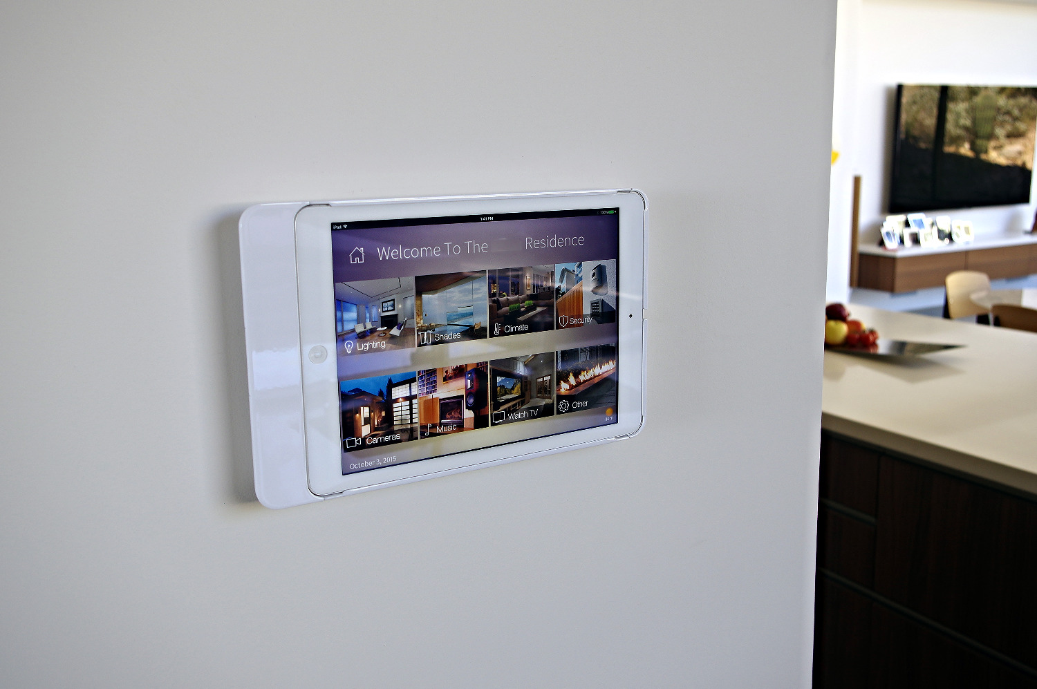 White iPad wall-mounted controller