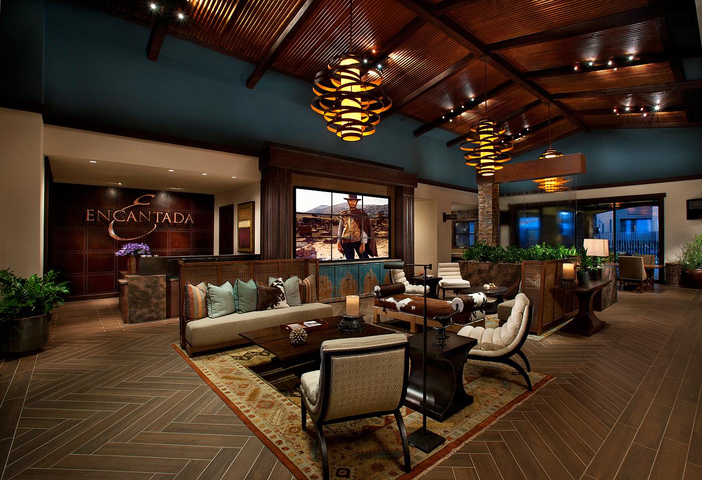 Classy lobby showcasing a video wall