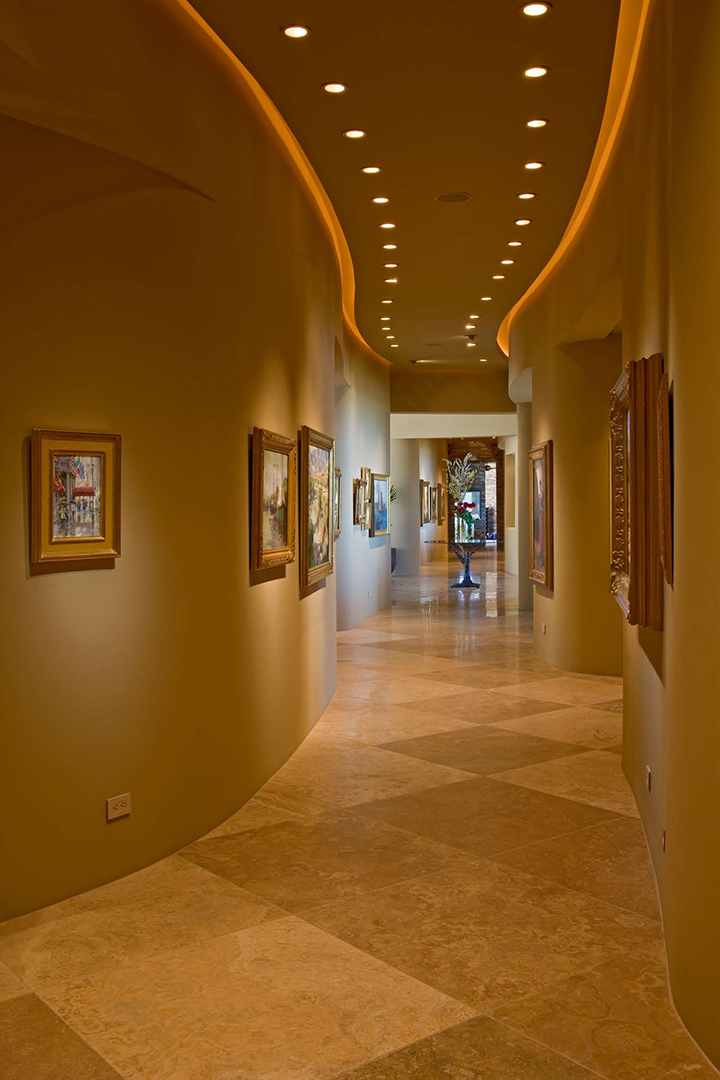 Long hallway with custom lighting