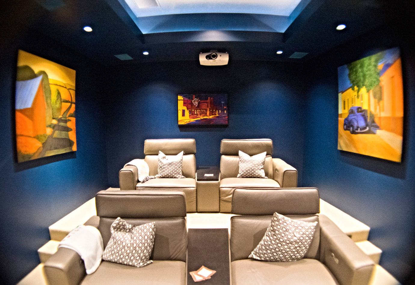 Custom home theater with blue walls