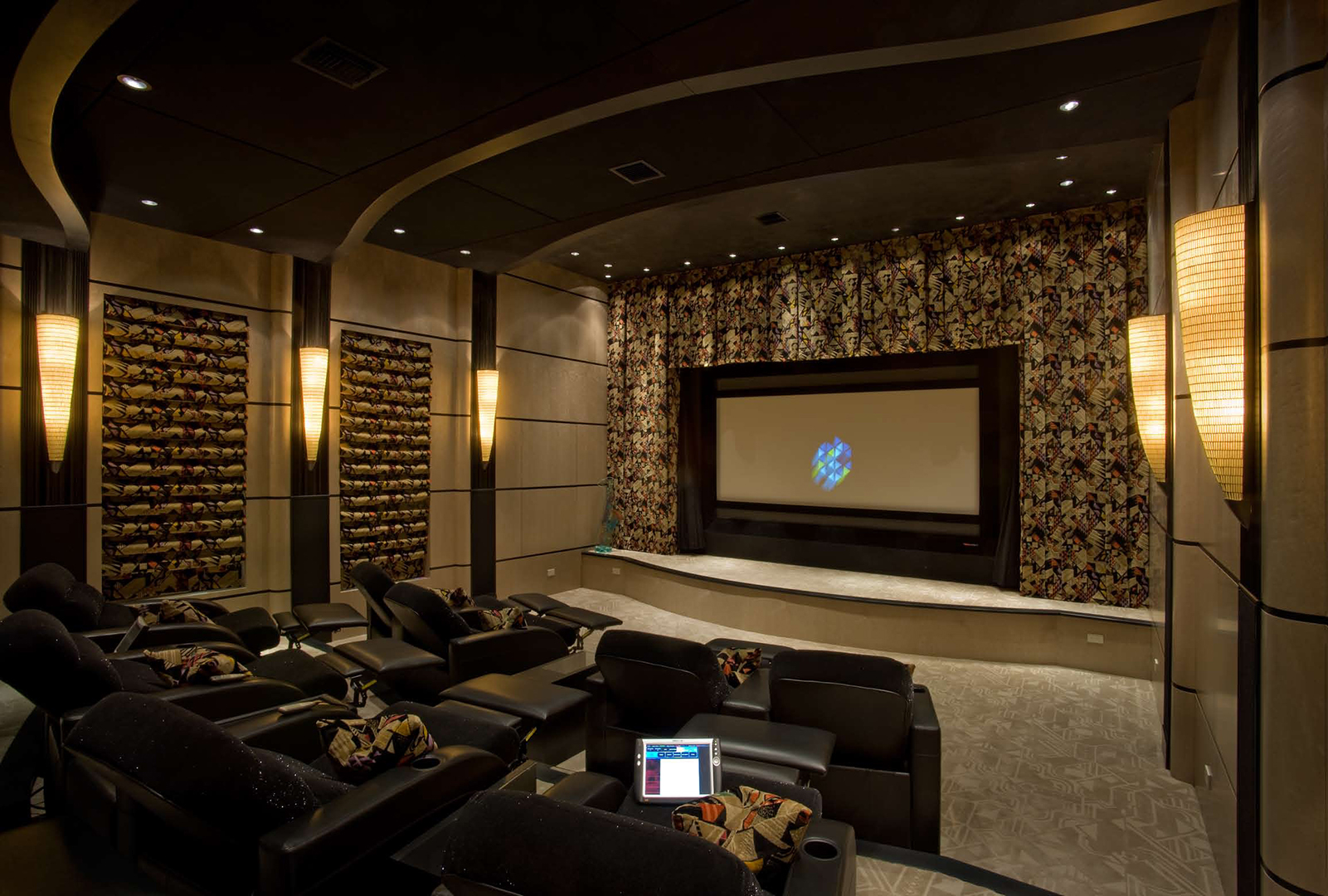 Reclined custom home theater seating