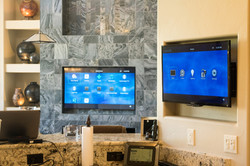 Mounted living room TV & kitchen TV