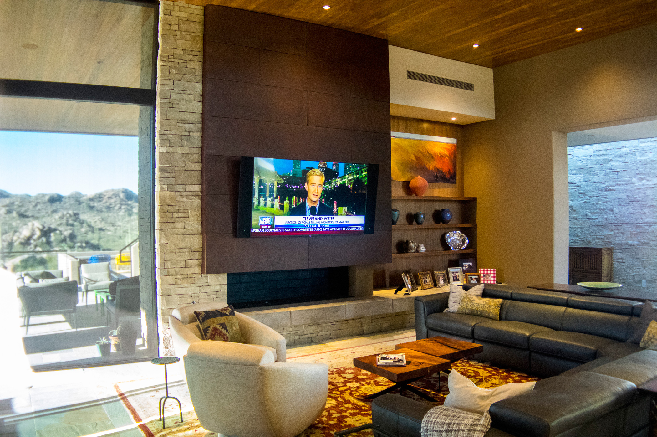 Living room TV with an outside view