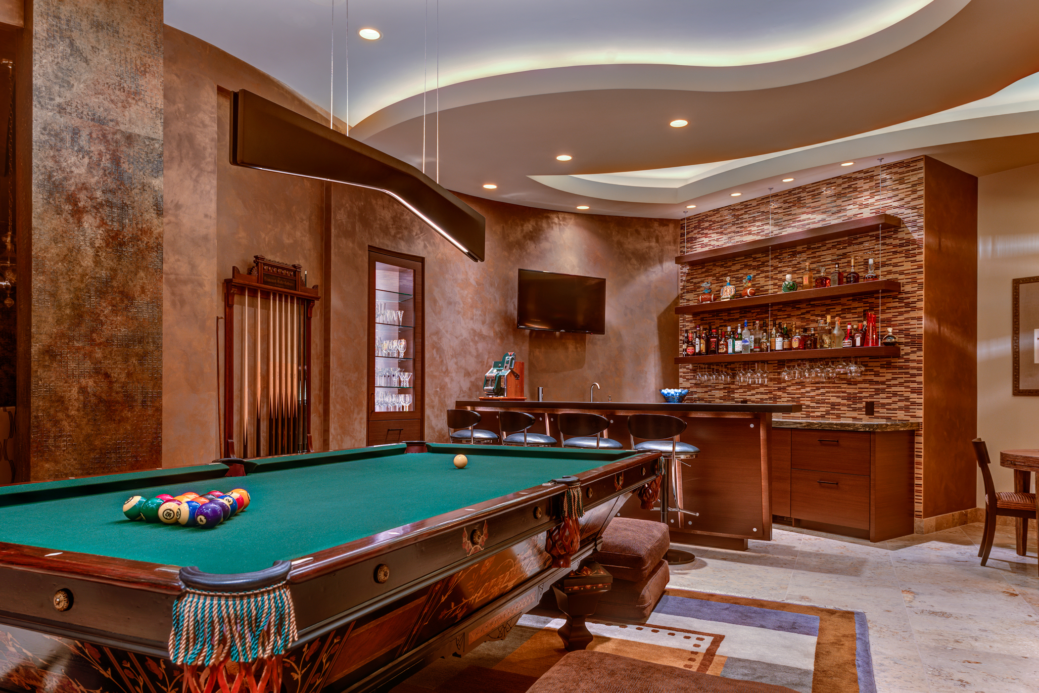 Bar light lighting a billiard room
