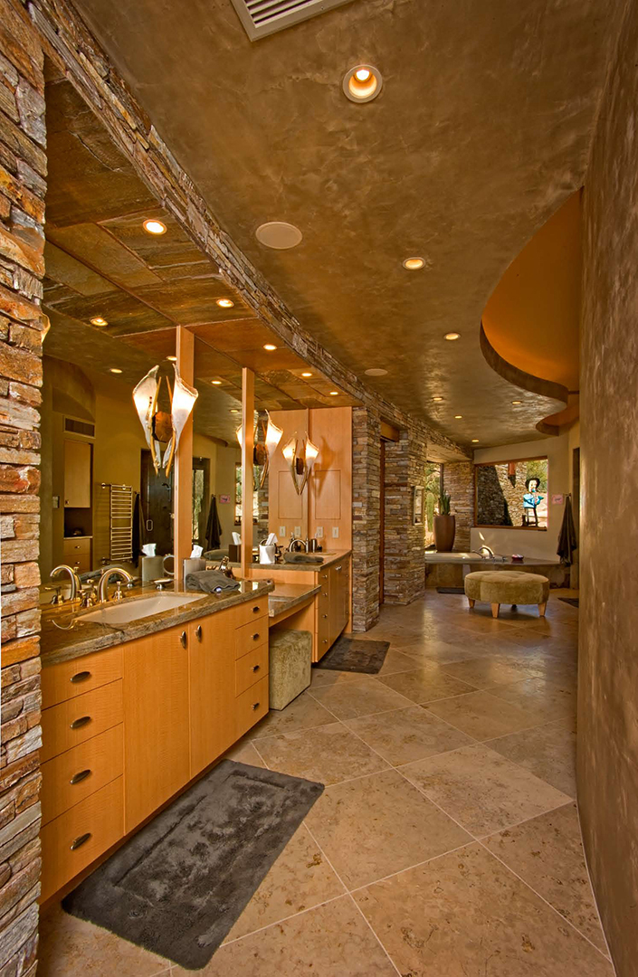 High-end bathroom w/ marble floors