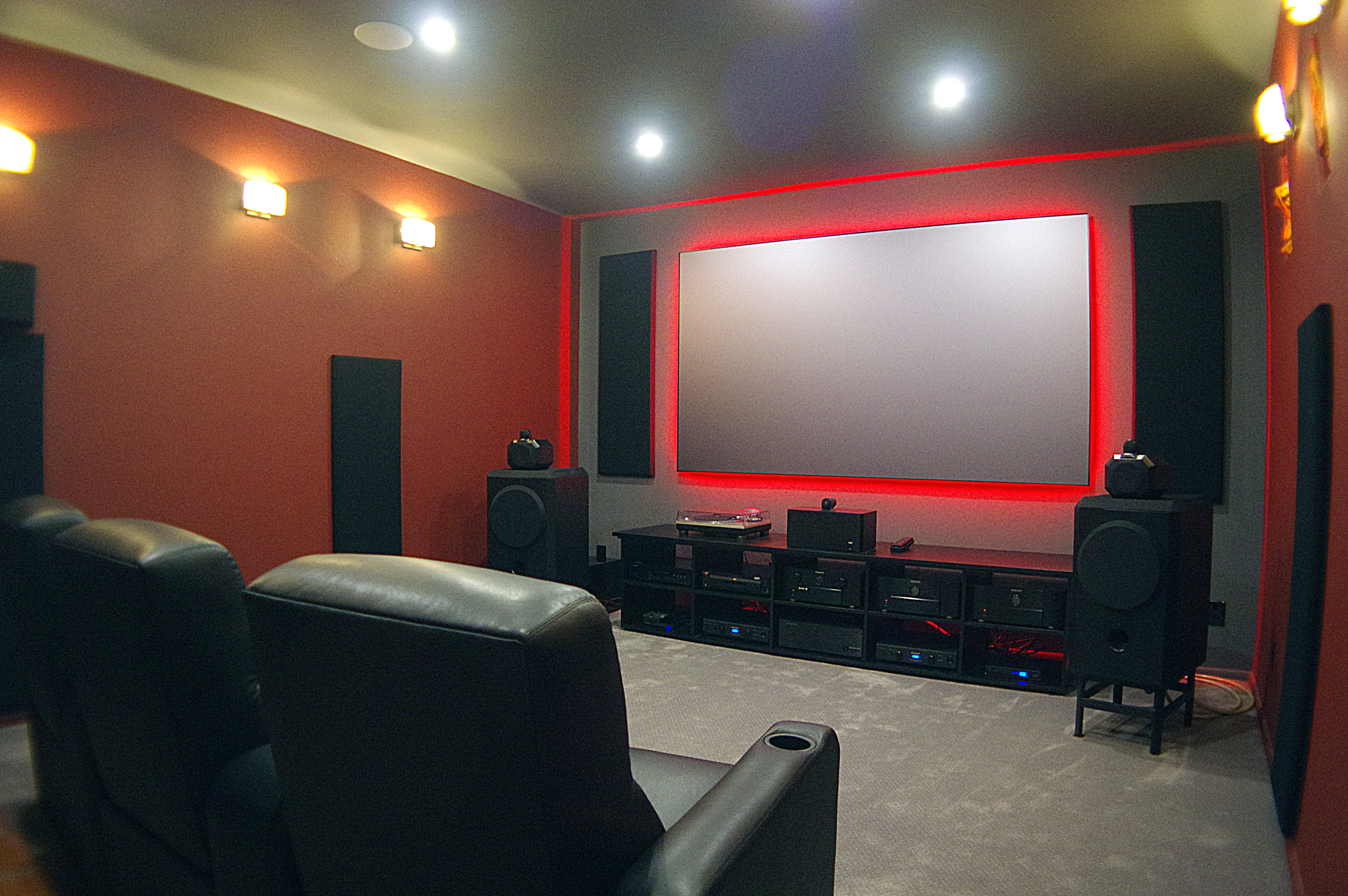 Home theater screen backlit red