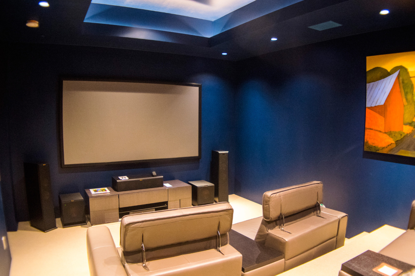Home theater with projector screen
