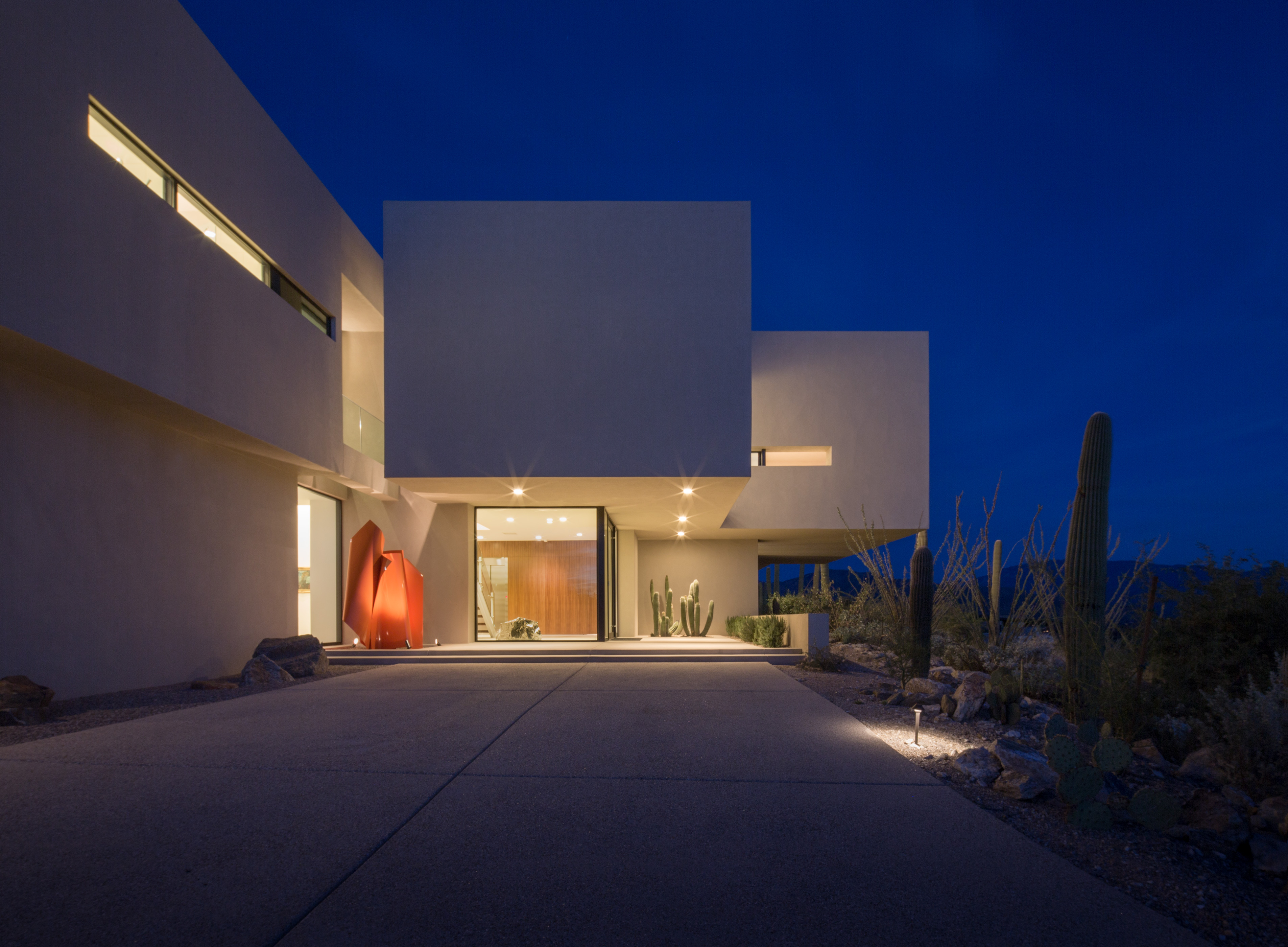 Luxury home with architecture lights