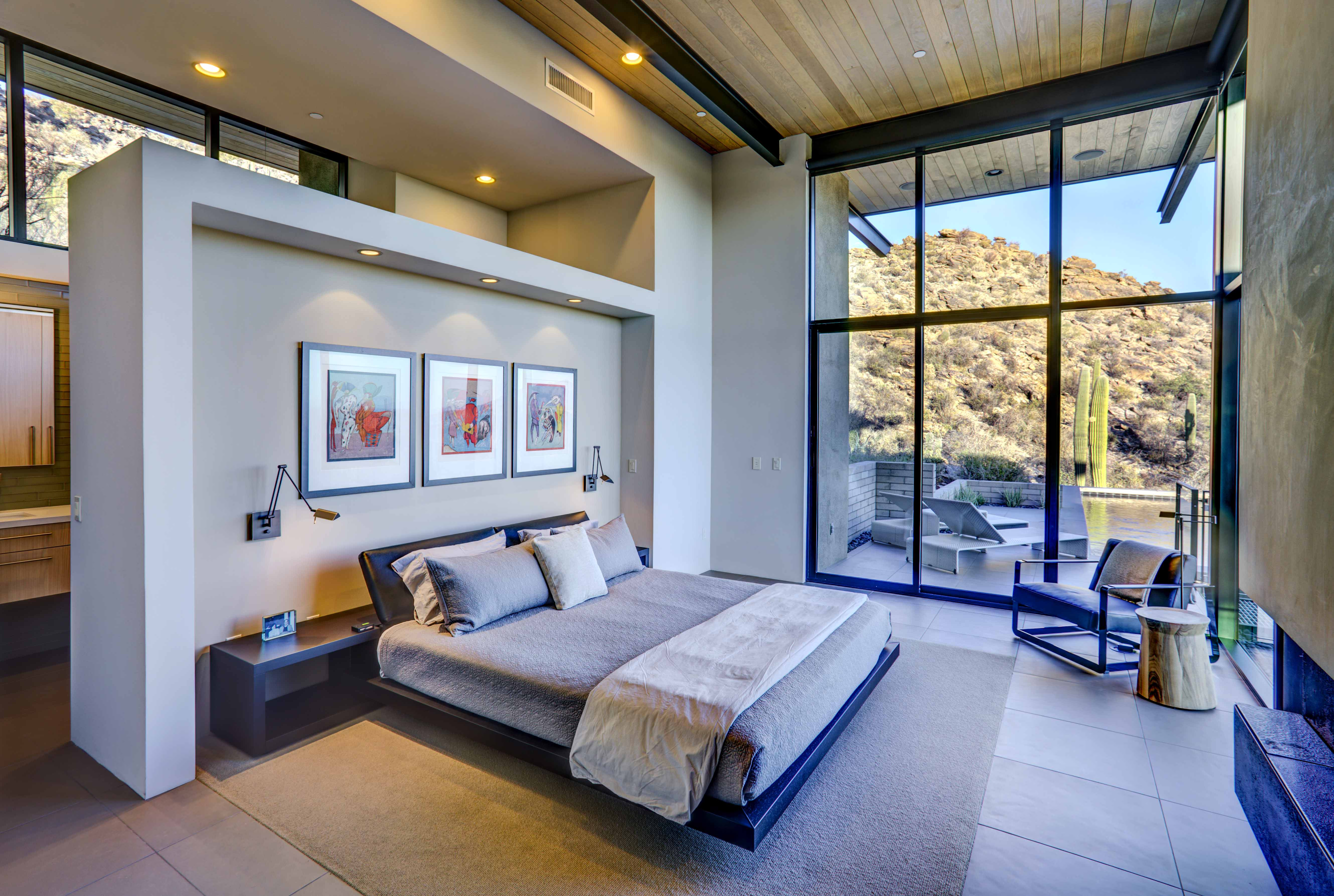 Open bedroom with modern lighting