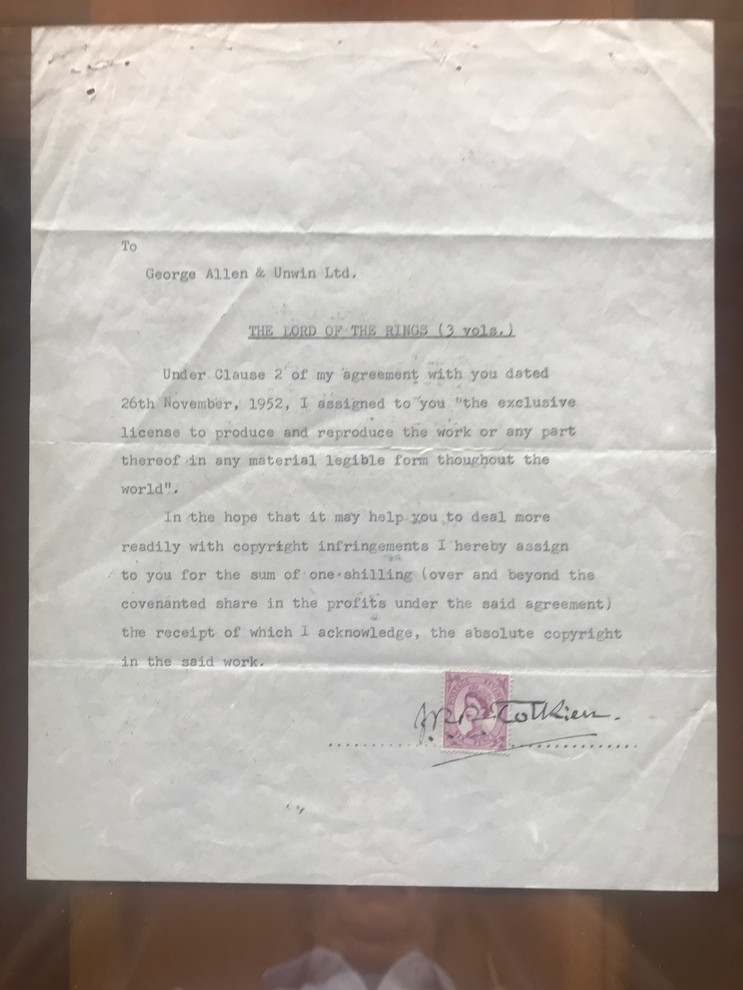 Contract for Publication of Lord of the Rings.