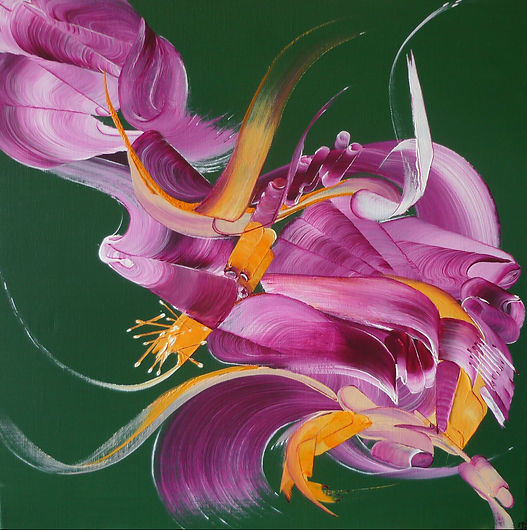 Peinture abstraite Sentiments fusionnels | Ma peinture sur toile | Vente de peintures abstraites | Artiste peintre Martine Belfodil | Tableau rose | Tableau fond vert | Abstraction lyrique