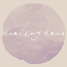 Healing Haus Logo, lavender foiled circle with 'Healing Haus' in white cursive letters