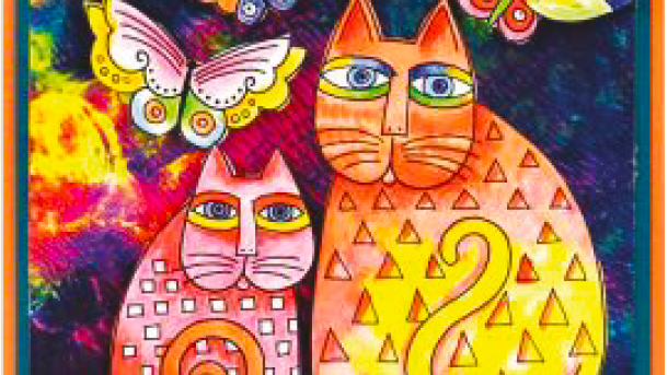 What's Up Kitty - Laurel Burch inspired