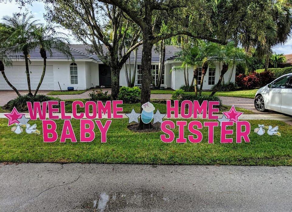 Welcome home baby girl Yard Card