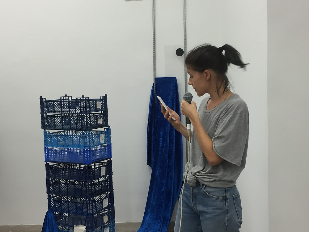 "Sophie Jung performing within her installation ""It's Not What It Looks Like"""