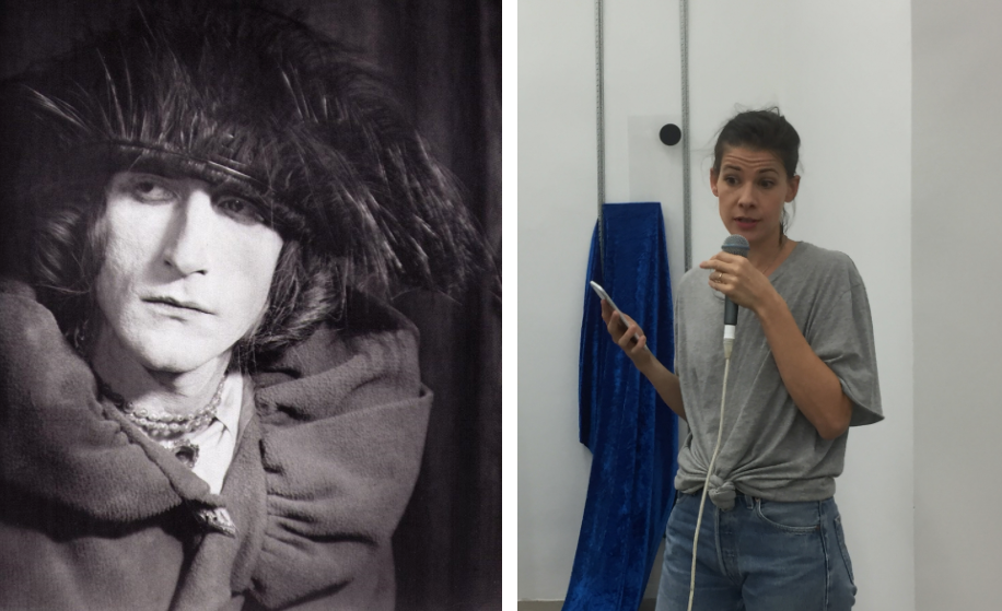 Left: Rrose Sèlavy in a phorograph by Man Ray. Right: Sophie Jung