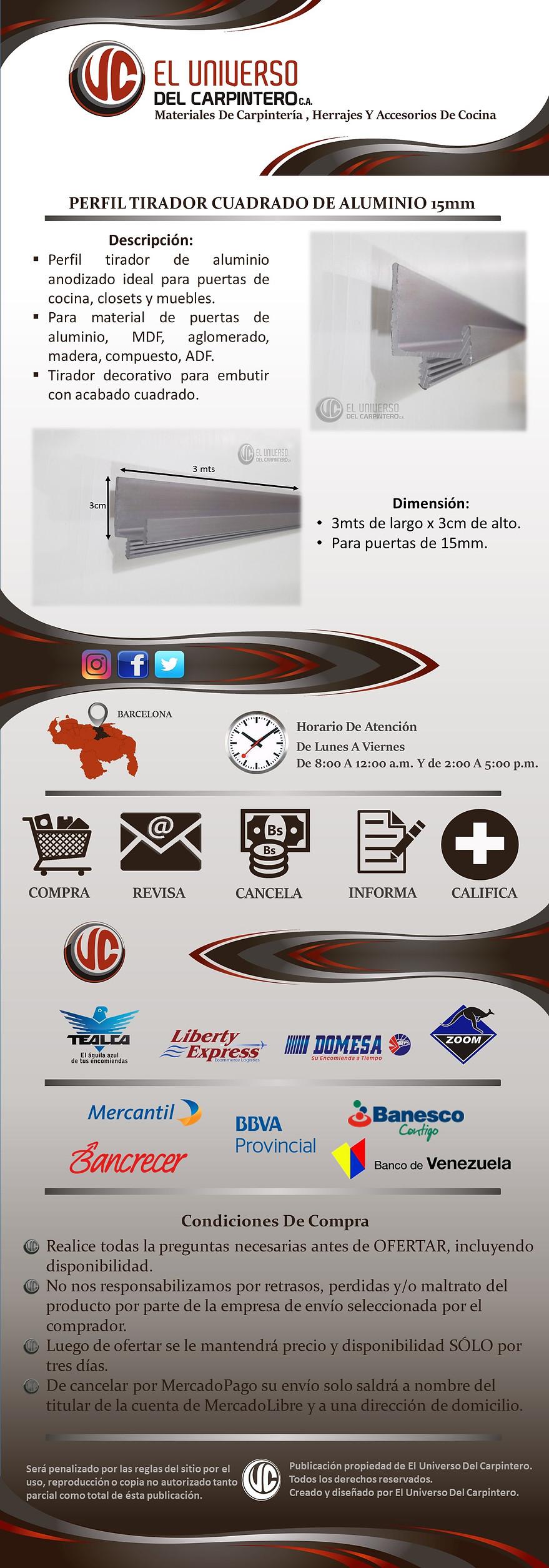 Perfil de aluminio tirador cuadrado 15mm perfiler a cocina - Perfil de aluminio precio ...