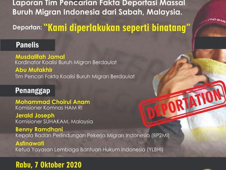 Laporan TPF Kondisi Migran Indonesia yang Dideportasi selama covid-19 dari Malaysia ke Indonesia