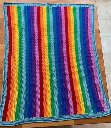 Cotton crochet baby blanket - rainbow