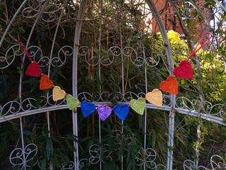 Rainbow boho heart bunting