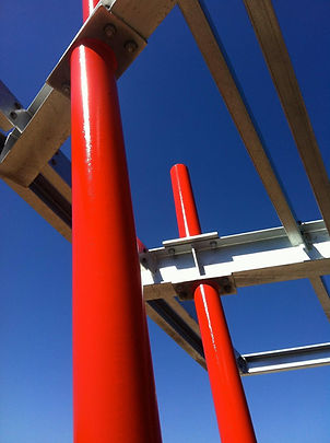 two pack epoxy dulux signal red on bbq shelter