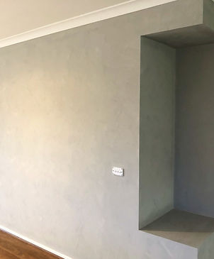 stone effect feature wall in living room