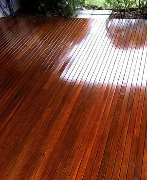 shiny timber deck finished in gloss clear coat